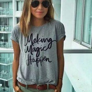 Gray Modern Graphic T Shirt- Making Magic Top